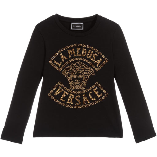 Young Versace - Girls Black Studded Cotton Top La Medusa - Kids clothing at BOYS & GIRLS ONLINE