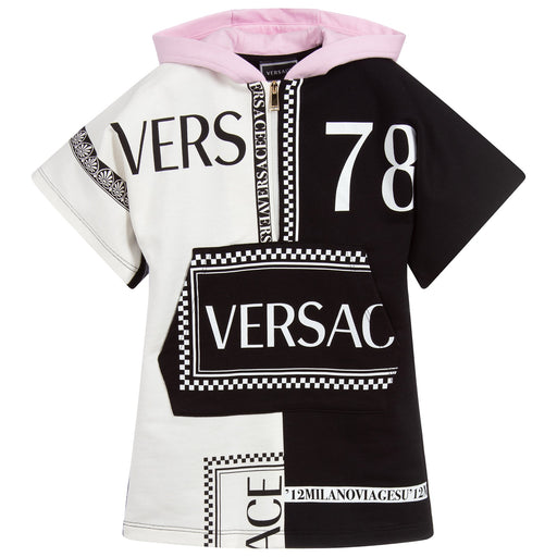 Versace Girls Black and White Logo Contrast Hoodie Dress - Kids clothes online | BOYS & GIRLS ONLINE