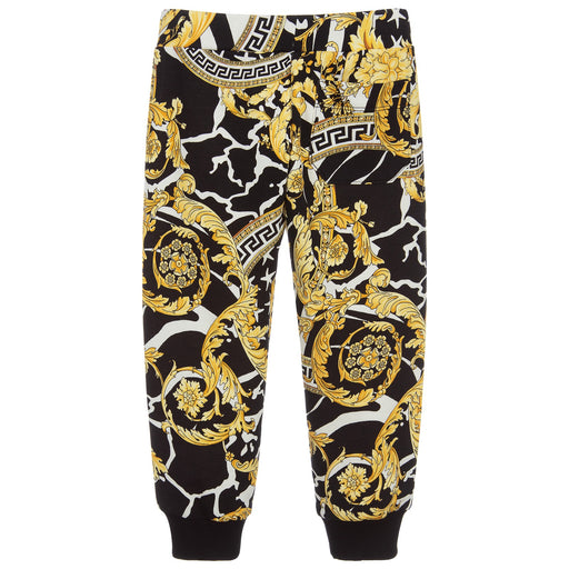 Versace Savage Black and Gold Baroque Joggers - Kids clothes online | BOYS & GIRLS ONLINE