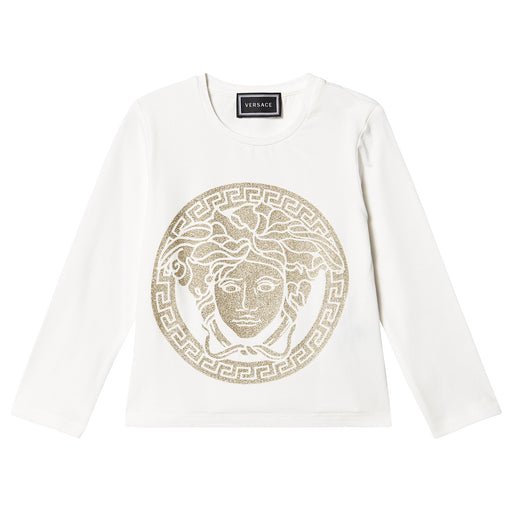 Young Versace - White and Gold Glitter Medusa Top - Kids clothing at BOYS & GIRLS ONLINE