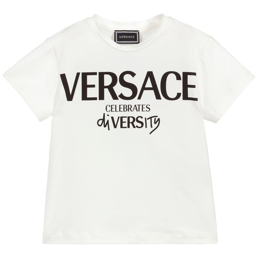 Young Versace - White Cotton 'Celebrates Diversity' T-Shirt - Kids clothing at BOYS & GIRLS ONLINE