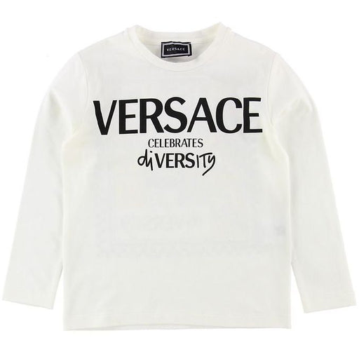 Young Versace - White Cotton 'Celebrates Diversity' Top - Kids clothing at BOYS & GIRLS ONLINE