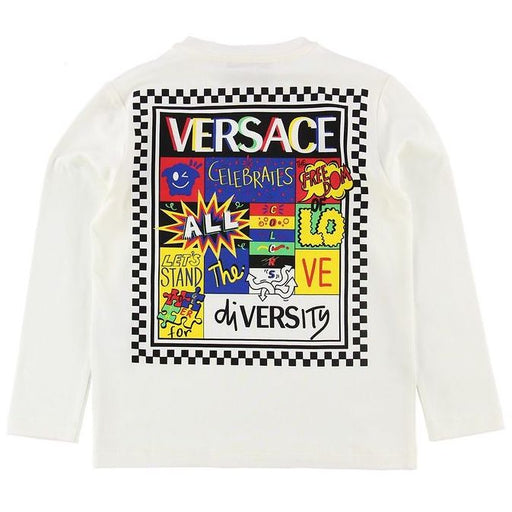 Versace White Cotton Celebrates Diversity Top - Kids clothes online | BOYS & GIRLS ONLINE
