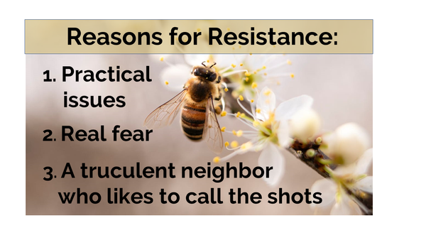 Reasons for neighbours resistance to bees