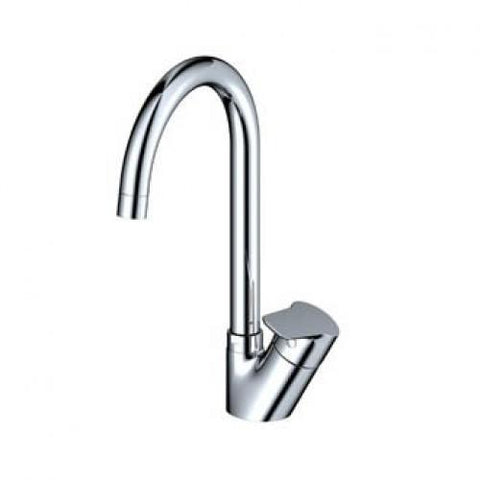 ELEGANT OVAL HANDLE POLISHED CHROME KITCHEN DECK MIXER