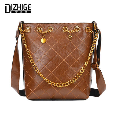 DIZHIGE High Quality Leather Bucket Women Bags 81284213105a3