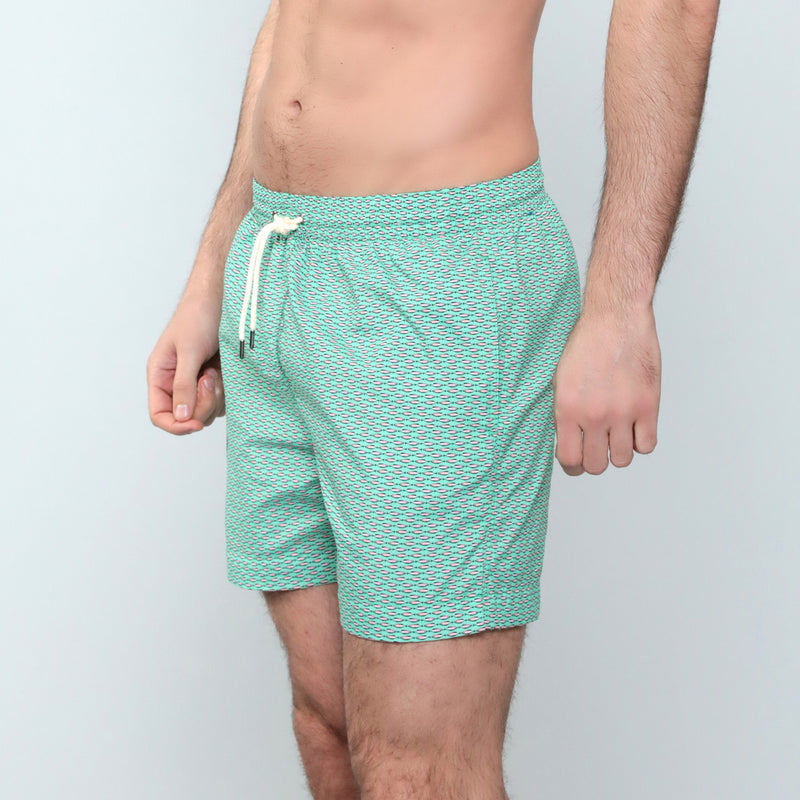 Caldelari Men Swimwear - Henry the Herring Mint Green - Handmade in Italy