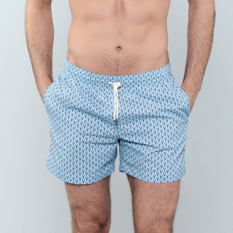 Caldelari Men Swimwear - Edward the Lobster Light Blue- Handmade in Italy