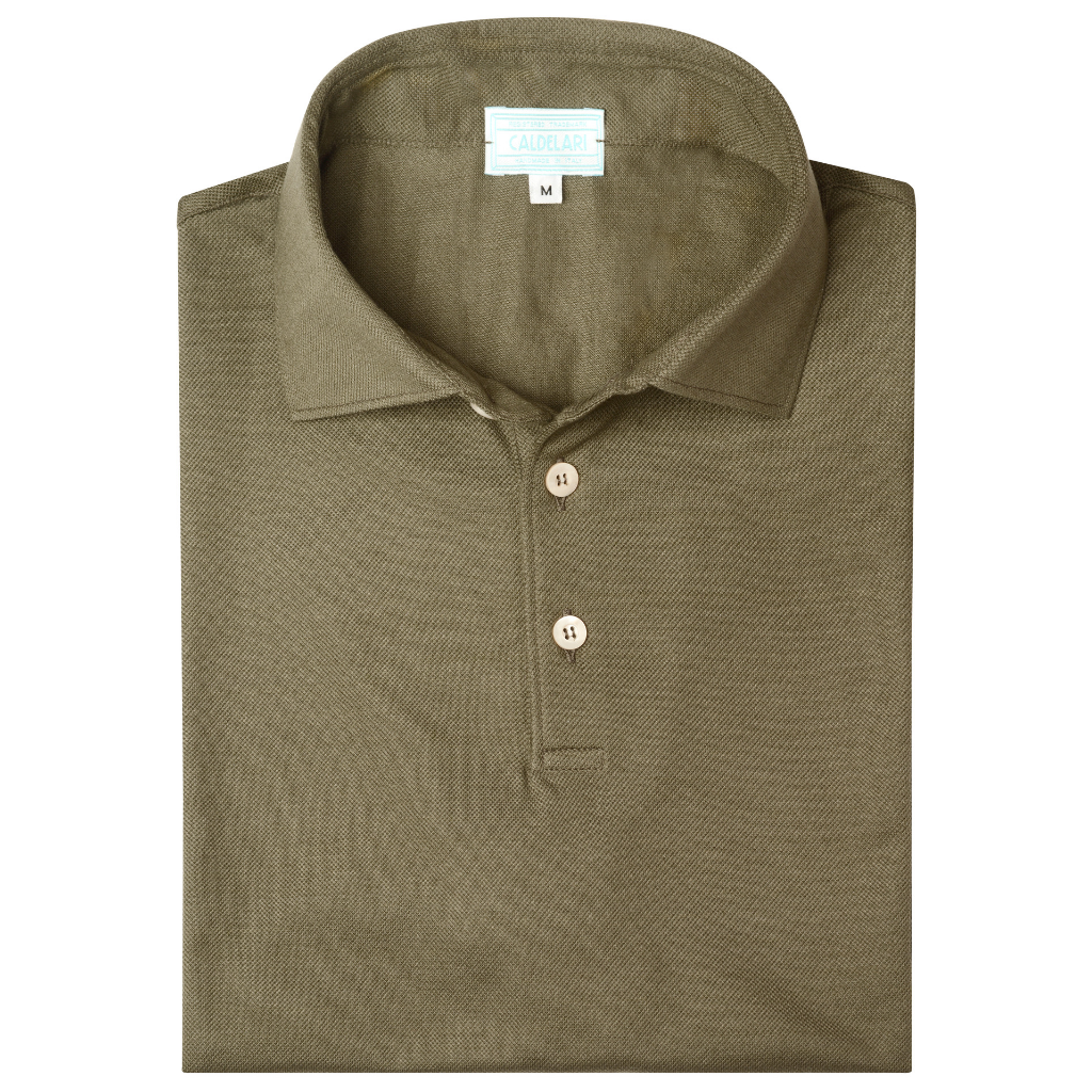 Scotland Yarn Polo Shirt - Olive Green