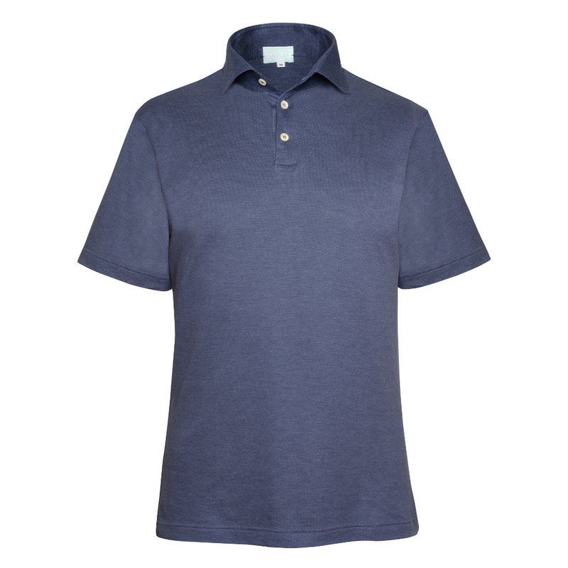 Scotland Yarn Polo Shirt - Indigo Blue