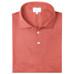Scotland Yarn Polo Shirt - Coral