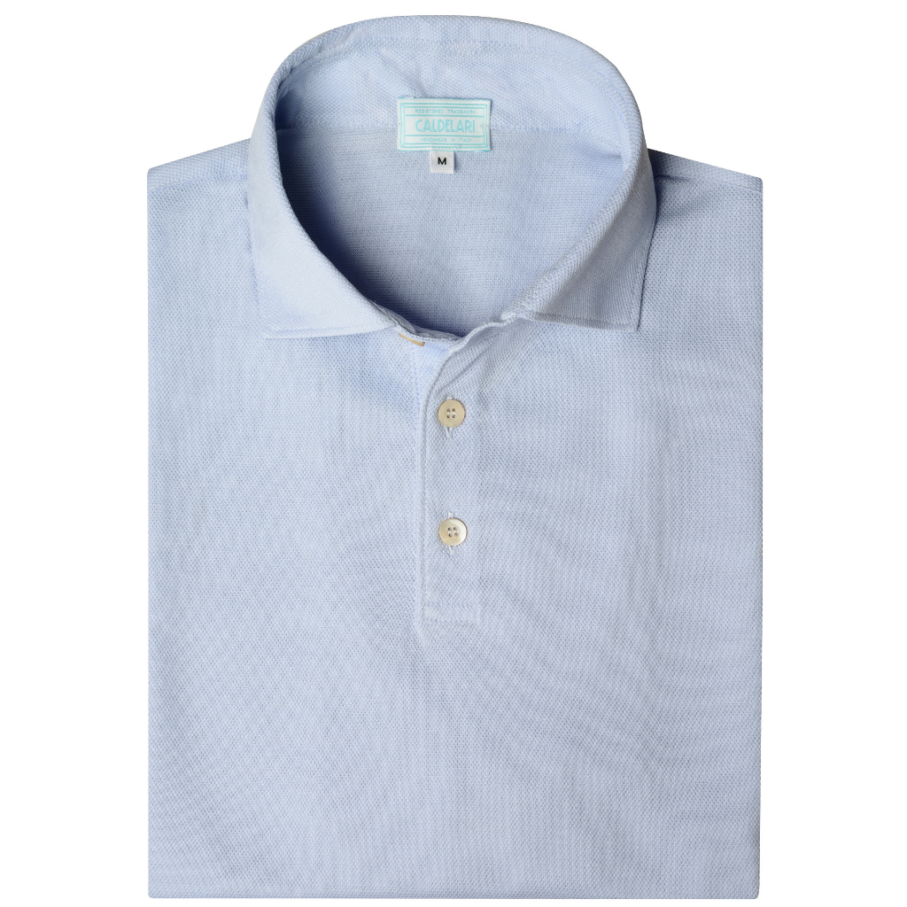 Scotland Yarn Polo Shirt - Light Blue