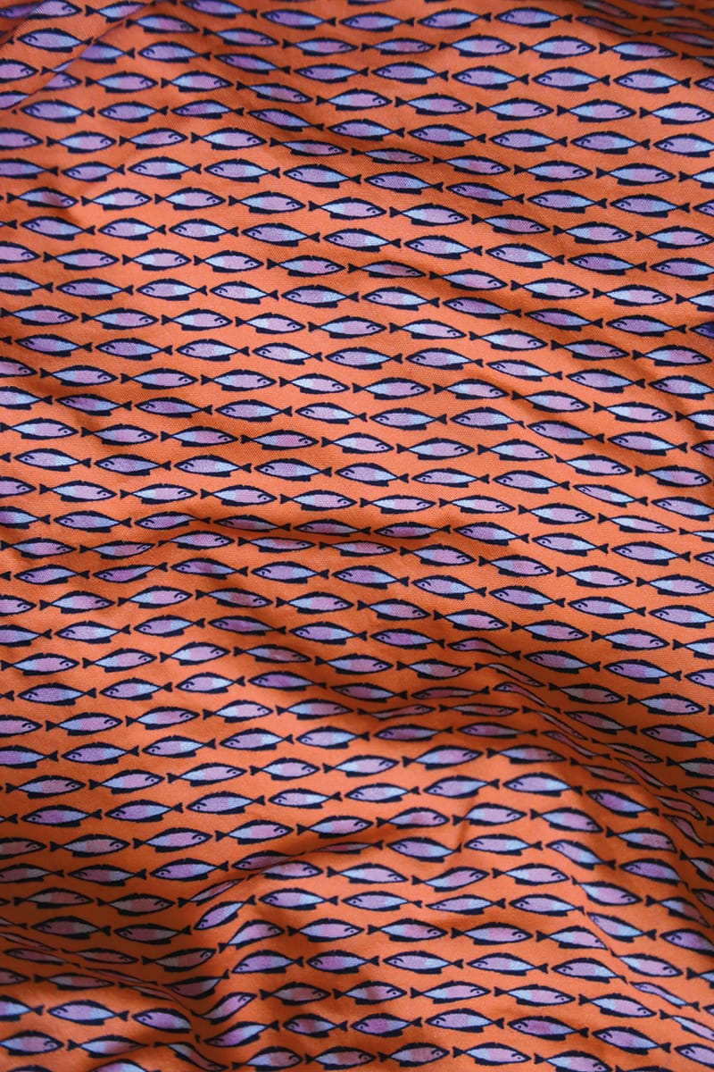 Caldelari Men Swimwear - Henry the Herring Apricot Orange- Handmade in Italy