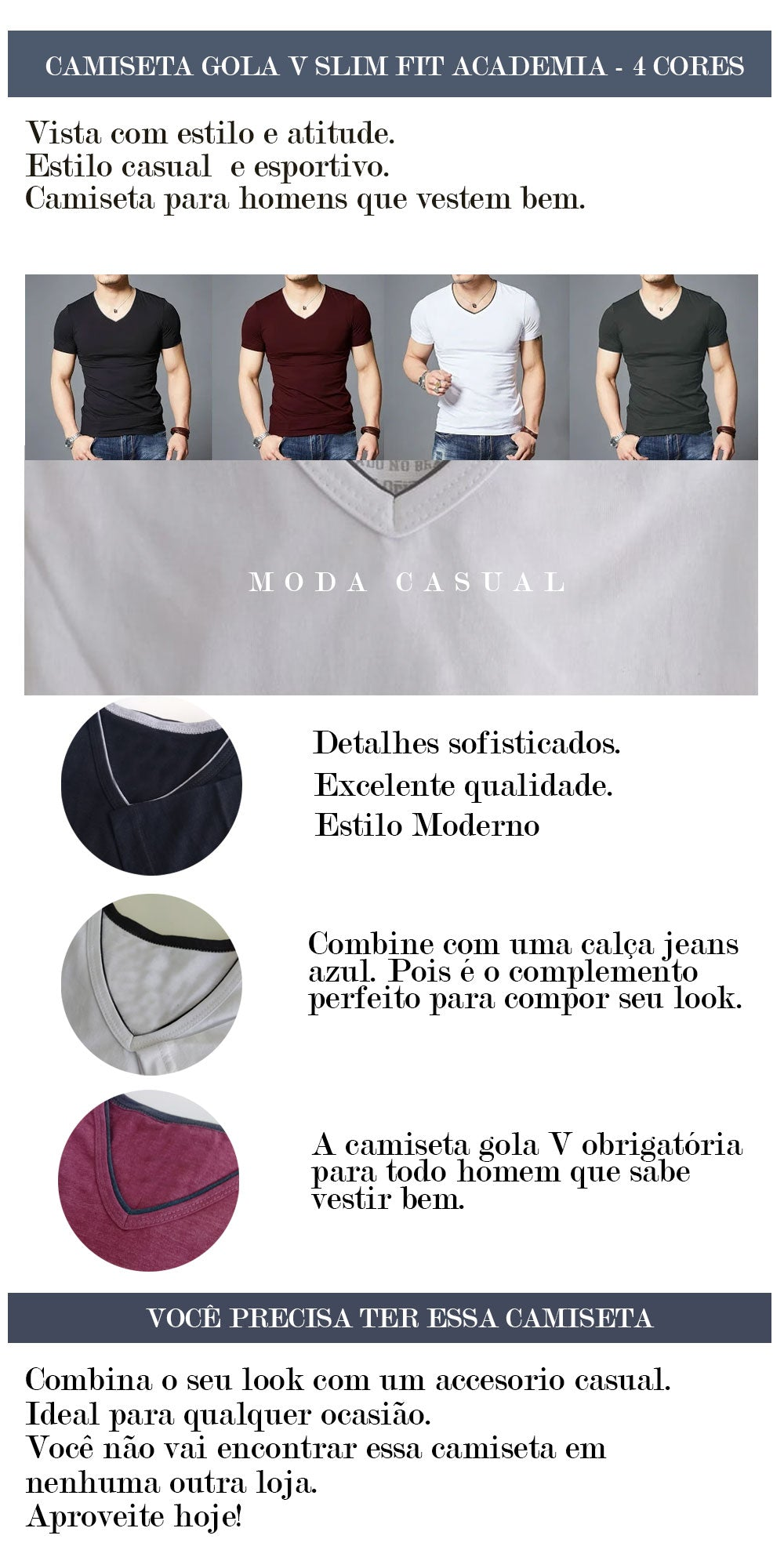 KIT 2 CAMISETAS GOLA V SLIM FIT ACADEMIA - 2 CORES