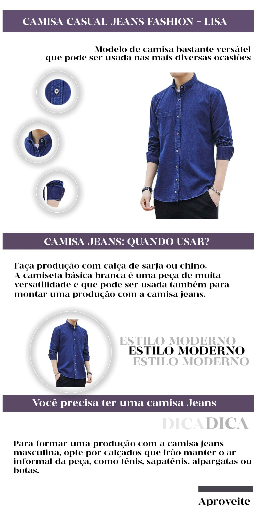 CAMISA CASUAL JEANS FASHION - LISA