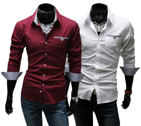 Kit 2 Camisas Casuais - Estilo Luxury Slim Fit - Vermelha e Branca-