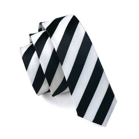 Skinny Fashion Slim Black White Striped Necktie 'For Men Formal Wedding Party Groom Free Shipping HH-046