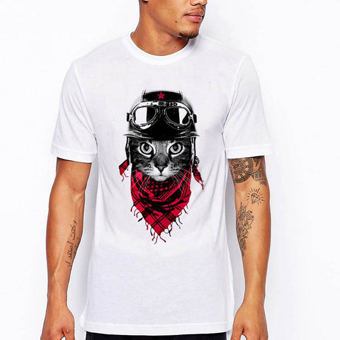 Camiseta Branca Fashion - Motorcycle Cat