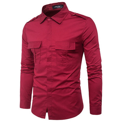 Camisa Fashion Sólida - Military Style - em 4 Cores