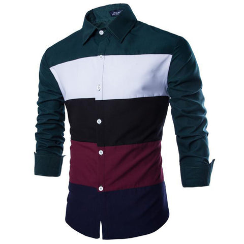 Camisa Jovem Fashion Casual - Striped Color Mixing - em Verde e Preto
