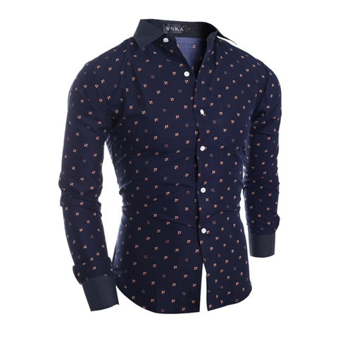 Camisa Casual Slim Fit Fashion Little Flowers - Azul