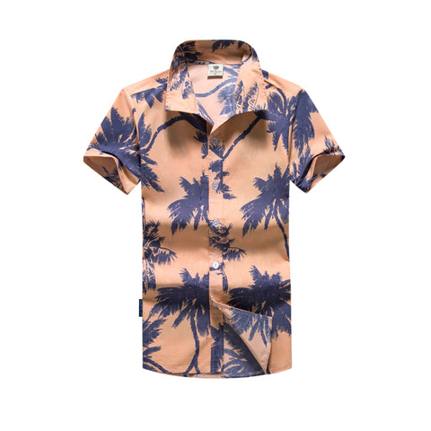 Camisa Hawaiana Manga Curta Fashion - Caqui