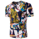 Camiseta Fashion de Desenho Abstract Art - Gola Moderna - Multicolor