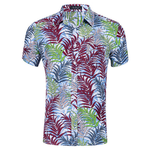 Camisa Manga Curta Fashion - Impressão Hawaii Multicolor