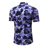 Camisa Casual Fashion Manga Curta - Floral 3D
