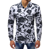 Camisa Casual Fashion Floral Monocromatica