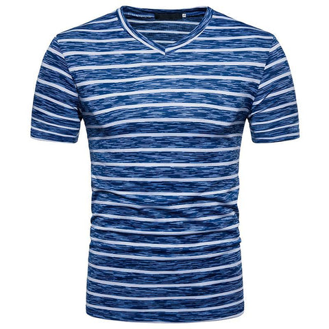Camiseta Fashion Listrada Estilo Retrô - Gola V
