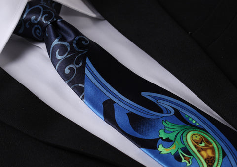 YP1GY Blue Green Yellow  Paisley Floral Fashion Classic 100%Silk Men Printed Tie Necktie