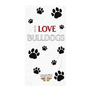 """I LOVE BULLDOGS"" Bath Towel White"