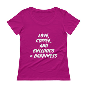 """Love, Coffee, and Bulldogs..."" Ladies' Scoopneck T-Shirt"