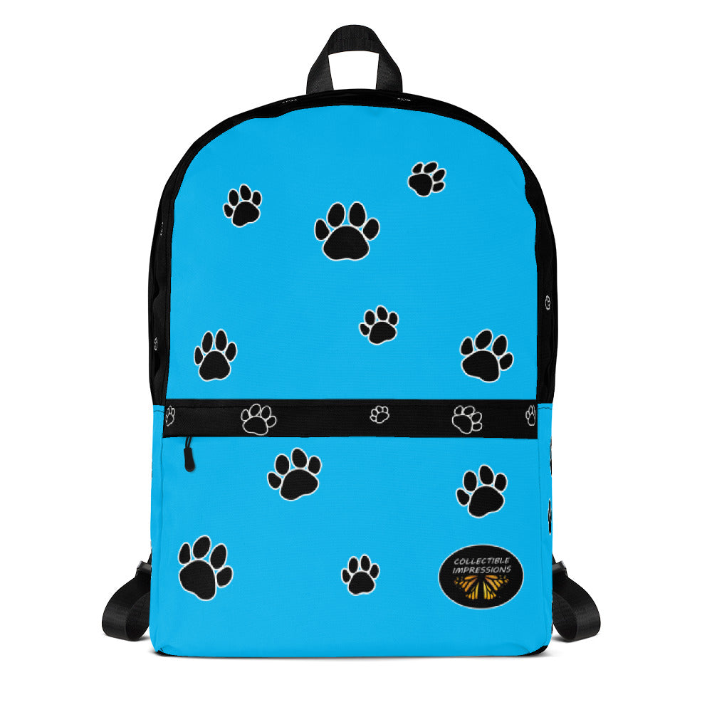 Backpack (Paw Print-Light Blue)