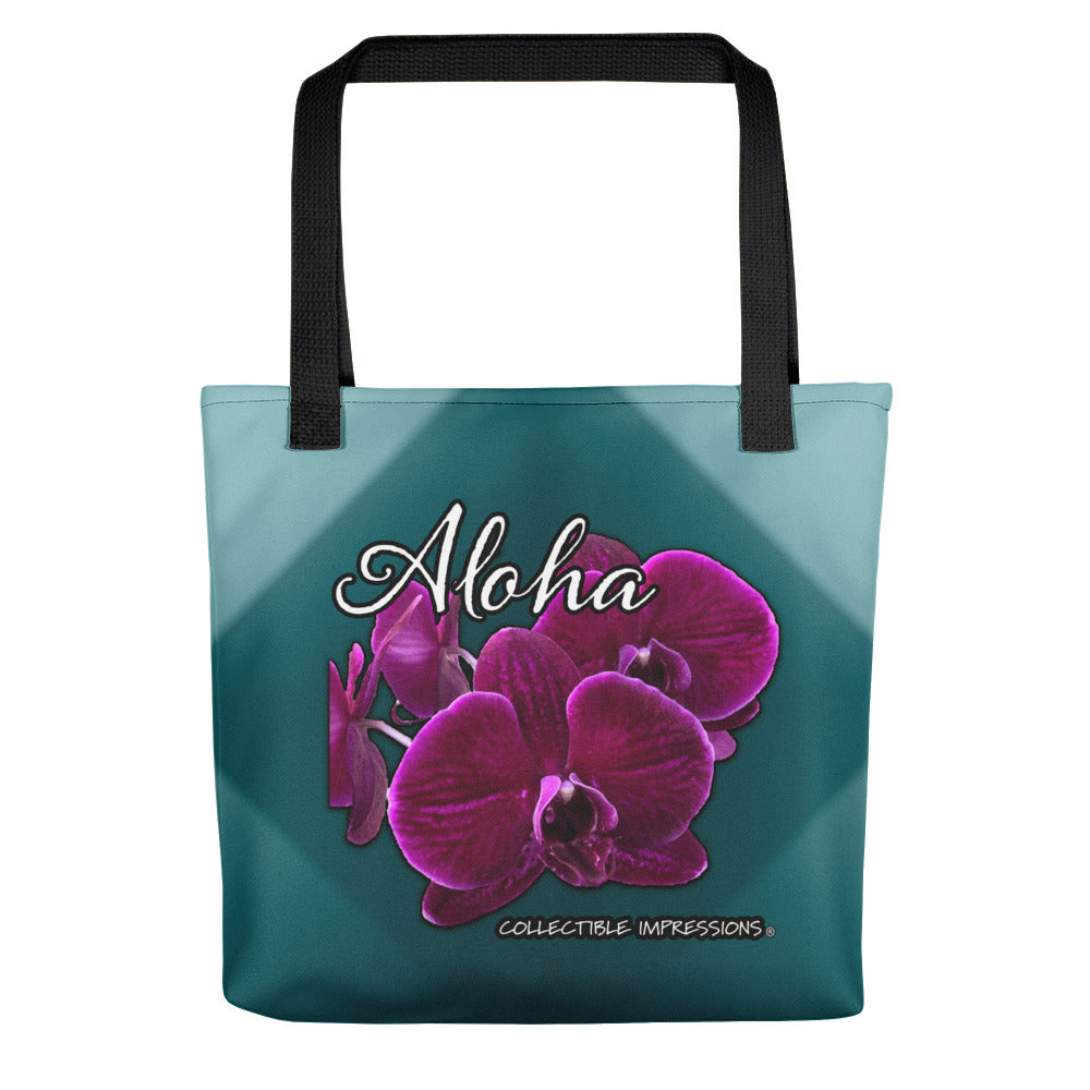 """Aloha Orchid"" (Shades of Teal) Tote"