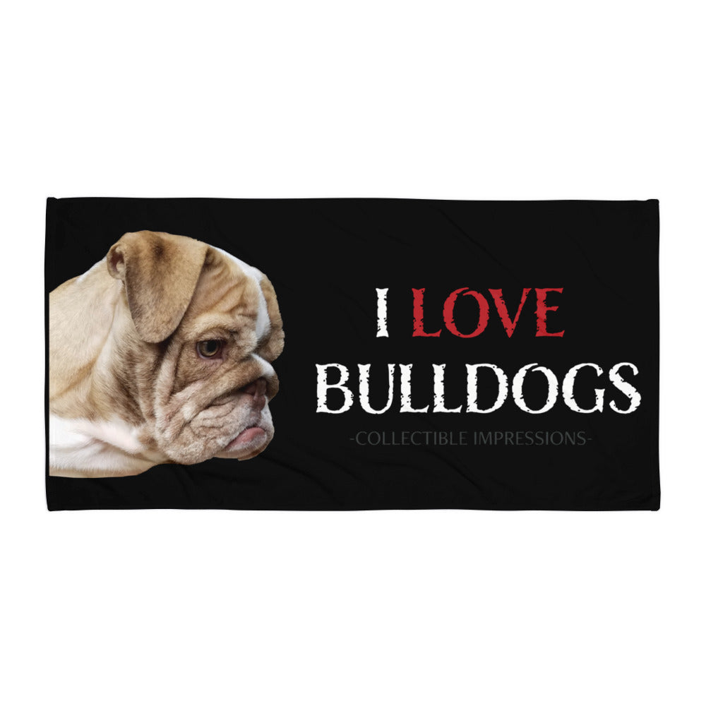 "Bobo's ""I LOVE BULLDOGS"" Bath Towel"