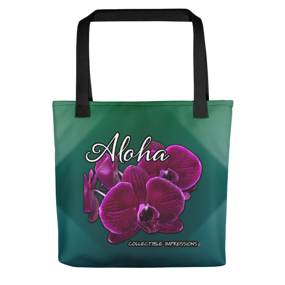 """Aloha Orchid"" (Shades of Green and Teal) Tote"
