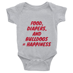"""Food, Diapers, and Bulldogs..."" Infant Bodysuit"