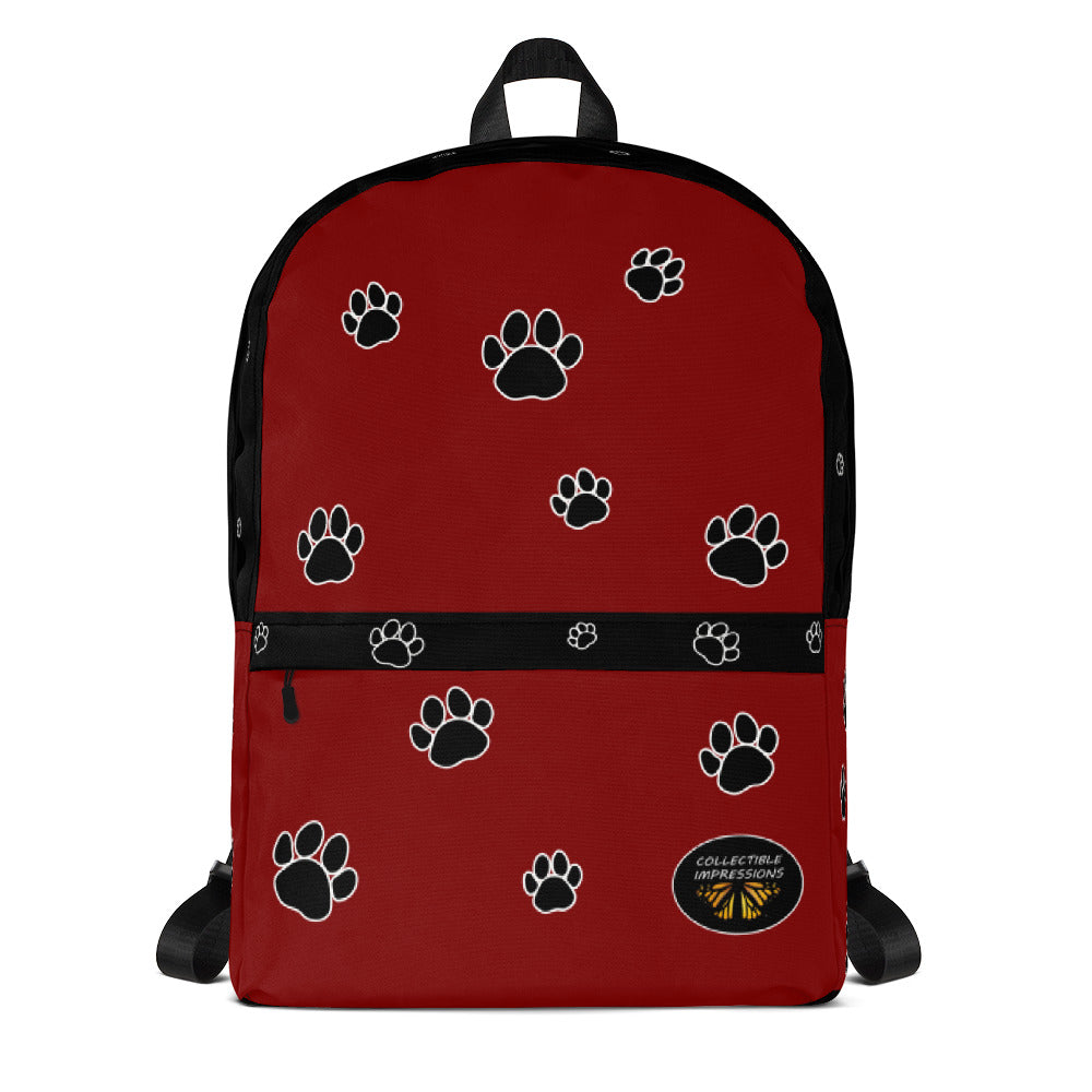 Backpack (Paw Print-Red)