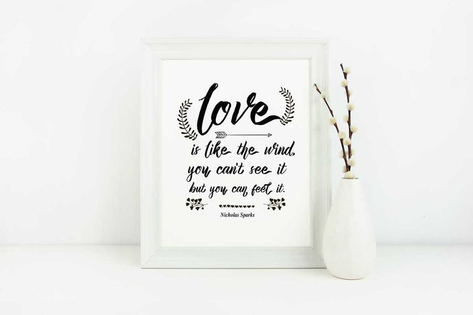 Love Is Like The Wind - Love Quote - in 8x10 Size (Instant Download)