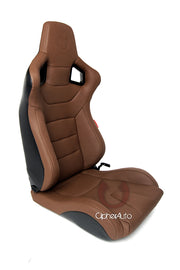 CPA2001PCFER CIPHER EURO RACING SEATS MOCHA LEATHERETTE CARBON FIBER W/ BROWN STITCHING - PAIR