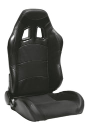 CPA1007 Wide Version Black Premium Leatherette w/ Carbon Fabric Patch Cipher Auto Racing Seats - Pair