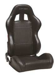 CPA1031 Black Leatherette w/ Black Accent Piping Cipher Auto Racing Seats - Pair----ETA 5/25/2019