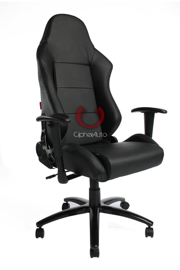 CPA5001 ALL BLACK LEATHERETTE CIPHER AUTO OFFICE RACING SEAT