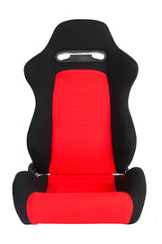 CPA1013 BLACK & RED CLOTH CIPHER AUTO RACING SEATS - PAIR