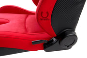 CPA2009CFSDRD CIPHER AR-9 REVO RACING SEATS ALL RED SUEDE AND FABRIC WITH CARBON FIBER POLYURETHANE BACKING - PAIR