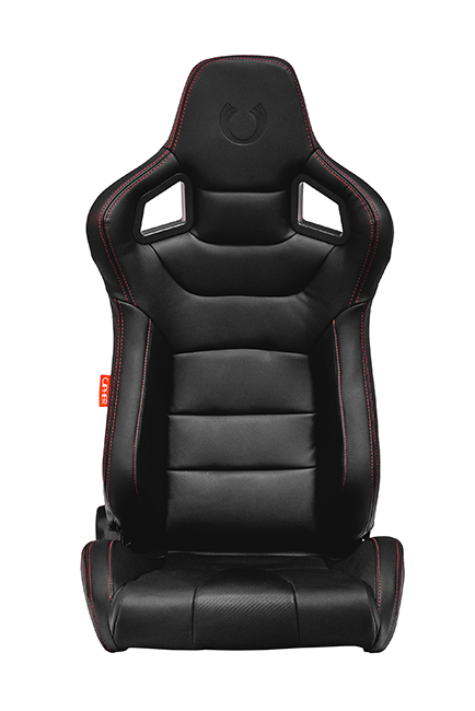 CPA2001 Cipher Euro Racing Seats Black Leatherette Carbon Fiber w/ Red Stitching - Pair