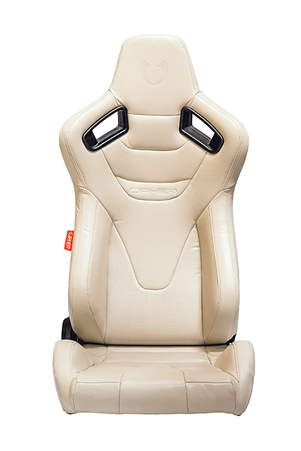 CPA2009RS Cipher Racing Seats Champagne Beige Leatherette Carbon Fiber w/ Beige Stitching - Pair