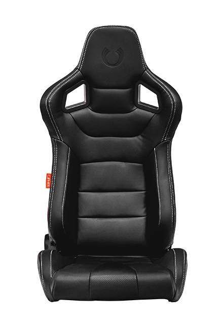 CPA2001 Cipher Euro Racing Seats Black Leatherette Carbon Fiber w/ White Stitching - Pair—OUT OF STOCK